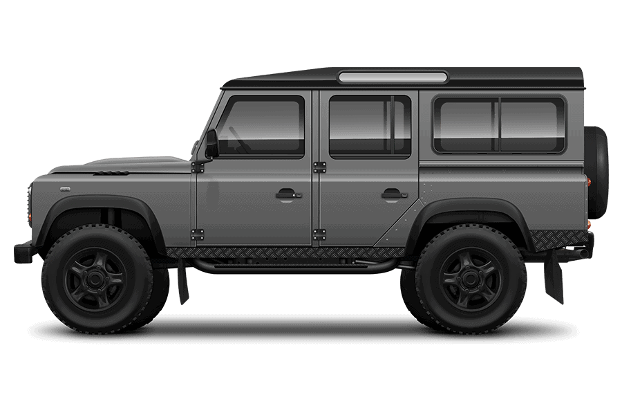 Grey Land Rover 110 Defender low res - black arches landscape